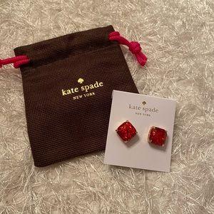 Kate Spade red glitter gold gen stud earring